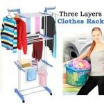 منشر غسيل ملابس فاخر 3طابق لتجفيف الملابس بعد الغسيل  واسع ومريح سهل الطي والتخزين فقط 2390ج