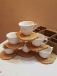 طقم قهوة بورسلين الصحون خشبية ا
