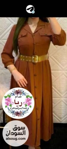 فستان موديل تركي حزام جلد وازرار - صورة رقم 2