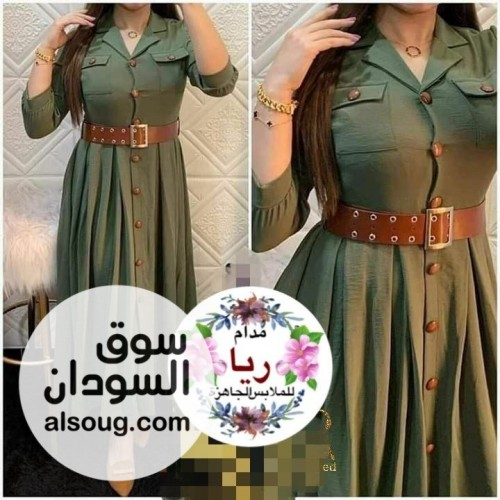 فستان موديل تركي حزام جلد وازرار - صورة رقم 3