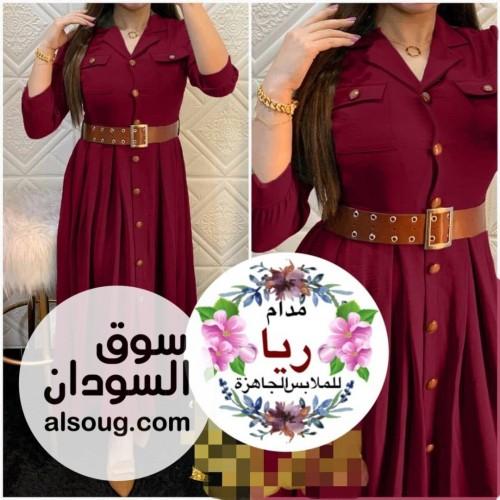 فستان موديل تركي حزام جلد وازرار - صورة رقم 1