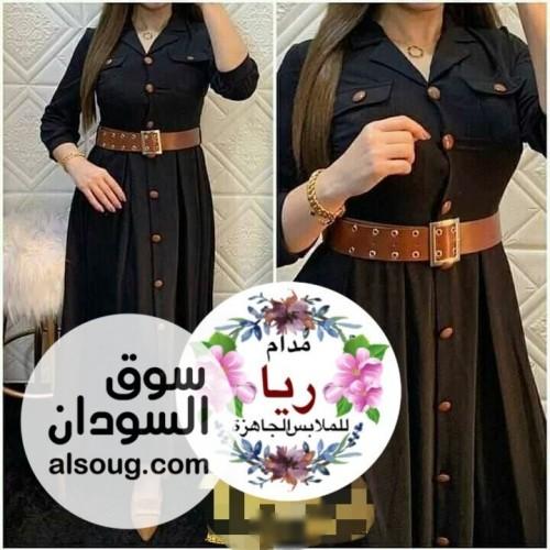 فستان موديل تركي حزام جلد وازرار - صورة رقم 4
