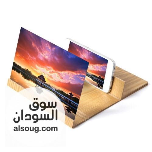 مكبر شاشة الموبايل  مصنوع من الخشب  - صورة رقم